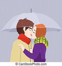 baisers, couple, parapluie, sous