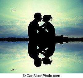 baisers, couple, rivière
