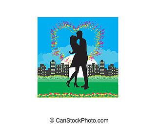 baisers, couple, romantique, nuit