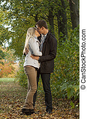 baisers, couple, romantique