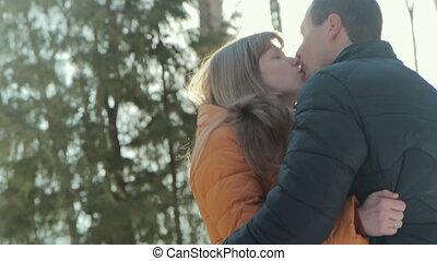 baisers, couple, romantique, sunset.