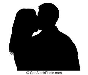 baisers, couple, silhouette, witn, attachant voie accès