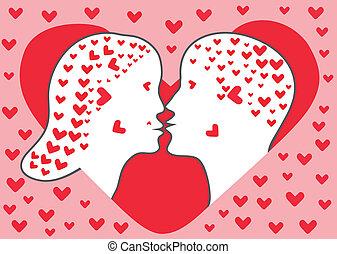 baisers, couple, vecteur, illustration