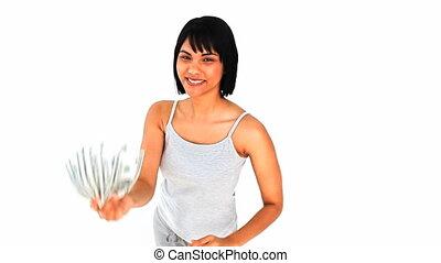 baisers, dollars, femme, asiatique, elle