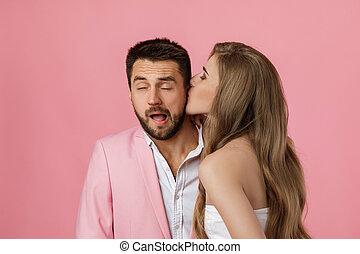 baisers, elle, boyfriend., femme