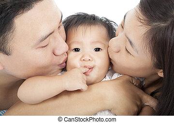baisers, famille, heureux, bébé