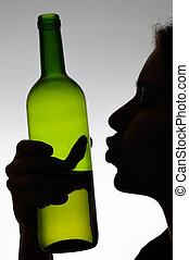 baisers, femme, bouteille vin, alcoolique
