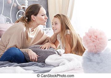 baisers, femme, fille, elle