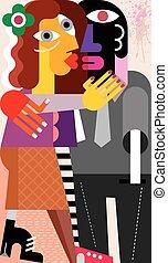 baisers, femme, homme