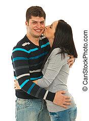 baisers, femme, joue, elle, petit ami