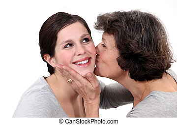 baisers, fille, elle, mère