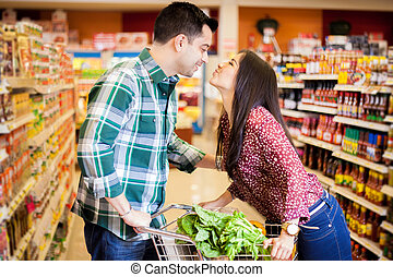 baisers, magasin épicerie