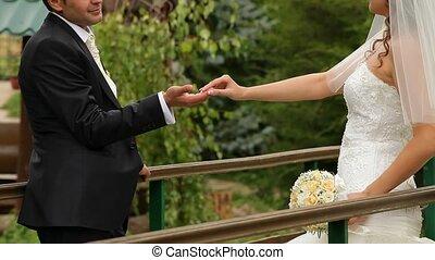 baisers, mariée, main