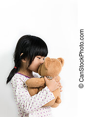 baisers, petit enfant, ours, teddy