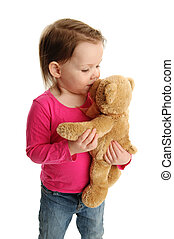 baisers, petite fille, ours, teddy