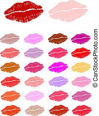 baisers, rouge lèvres