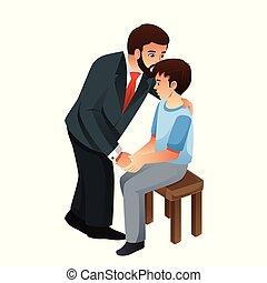baisers, sien, père, illustration, fils