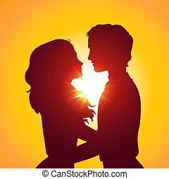 baisers, silhouettes, coucher soleil, coupl