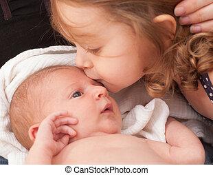 baisers, soeur, nouveau