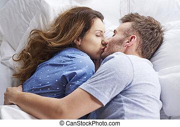 baisers, sommet, couple, vue