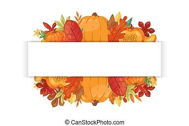 baissé, vecteur, bannière, jour, accueil, automnal, automne, thanksgiving, dessin animé, illustration., citrouille, feuilles