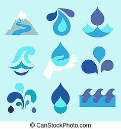 baisse eau, conception, elements., icônes