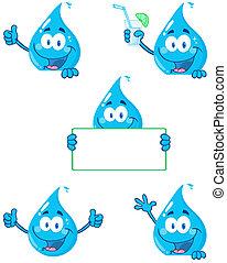 baisse eau, dessin animé, caractères