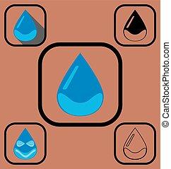 baisse eau, ensemble, icônes