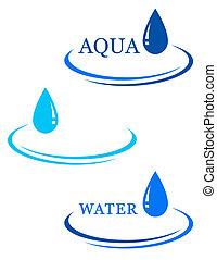 baisse eau, fond, signe
