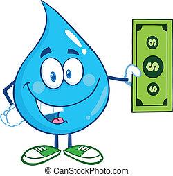 baisse eau, note, dollar, projection