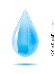 baisse eau, vecteur, white., illustration