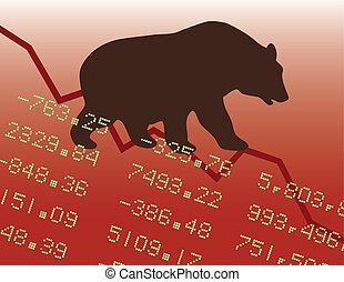 baissemarkt, rood
