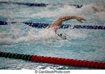 baisses eau, bras, nageur