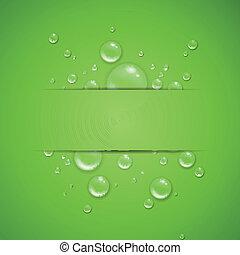 baisses eau, vecteur, arrière-plan vert