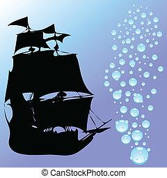 baisses eau, vecteur, bateau, illustration