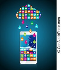 baisses pluie, installed, nuage, mobile, apps:, downloaded, formulaire, applications, smartphone