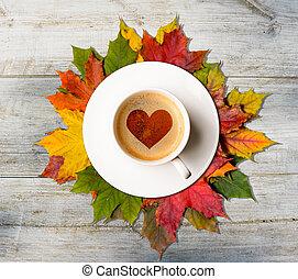 baissez dans, love., automne, café, et, feuilles