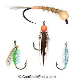 Bait variety for fishing by spinning rope illustration set