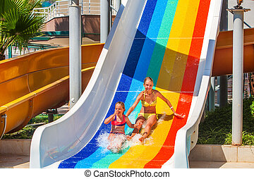 baixo, aquapark, slides., corrediça água, crianças