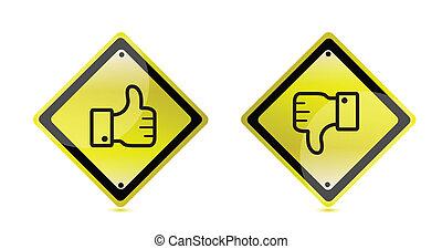baixo, aviso, polegares cima, sinal
