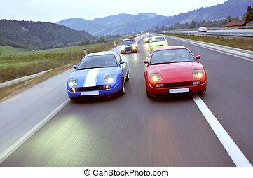 baixo, carros, correndo, afinando, rodovia