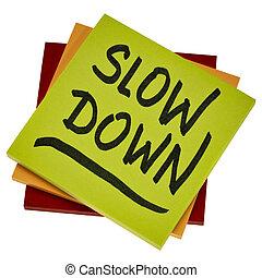 baixo, conselho, lento, lembrete, ou