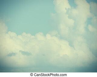 baixo, contraste, nuvens, fundo