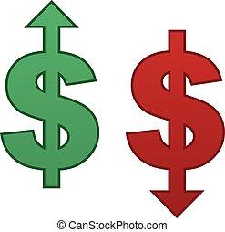 baixo, dólar, cima seta