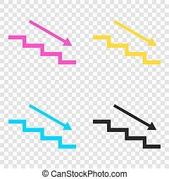 baixo, degrau, ícones, cmyk, arrow., cya, experiência., transparente