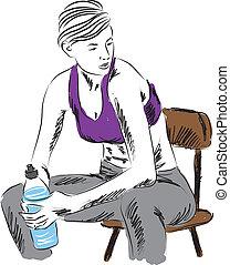 baixo, descansar, mulher, condicão física, sentando