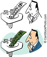 baixo, dinheiro, dreno