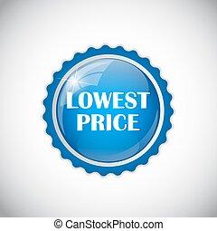 baixo, dourado, preço, ilustração, etiqueta, vetorial