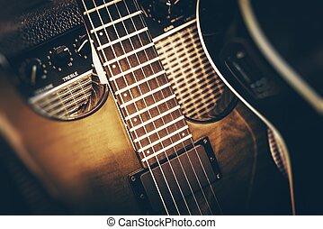 baixo elétrico, violão jogando