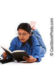 baixo, estudar, enquanto, mentindo